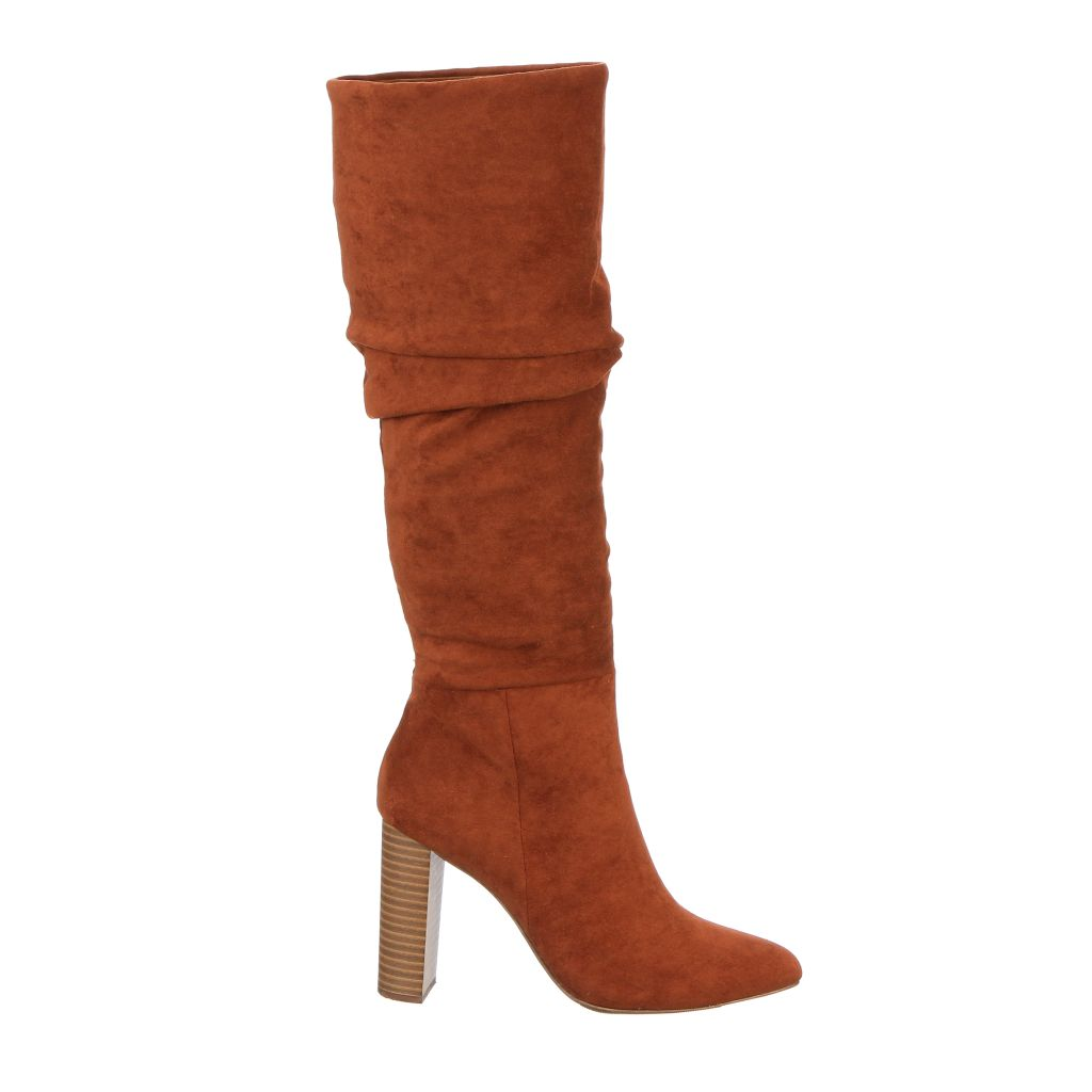 Penny Microsuede High Stacked Heel Slouch Boot