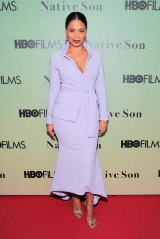 Actress Sanaa Lathan wearing dress by Christian Siriano...