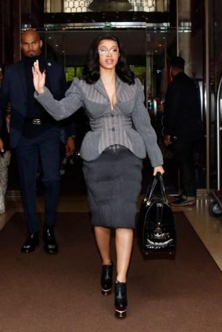 Singer Cardi B Leaves Her Hotel In Paris