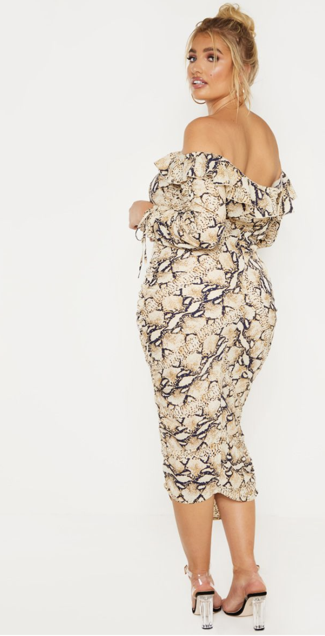 pretty little thing plus taupe snake print ruched side bardot dress