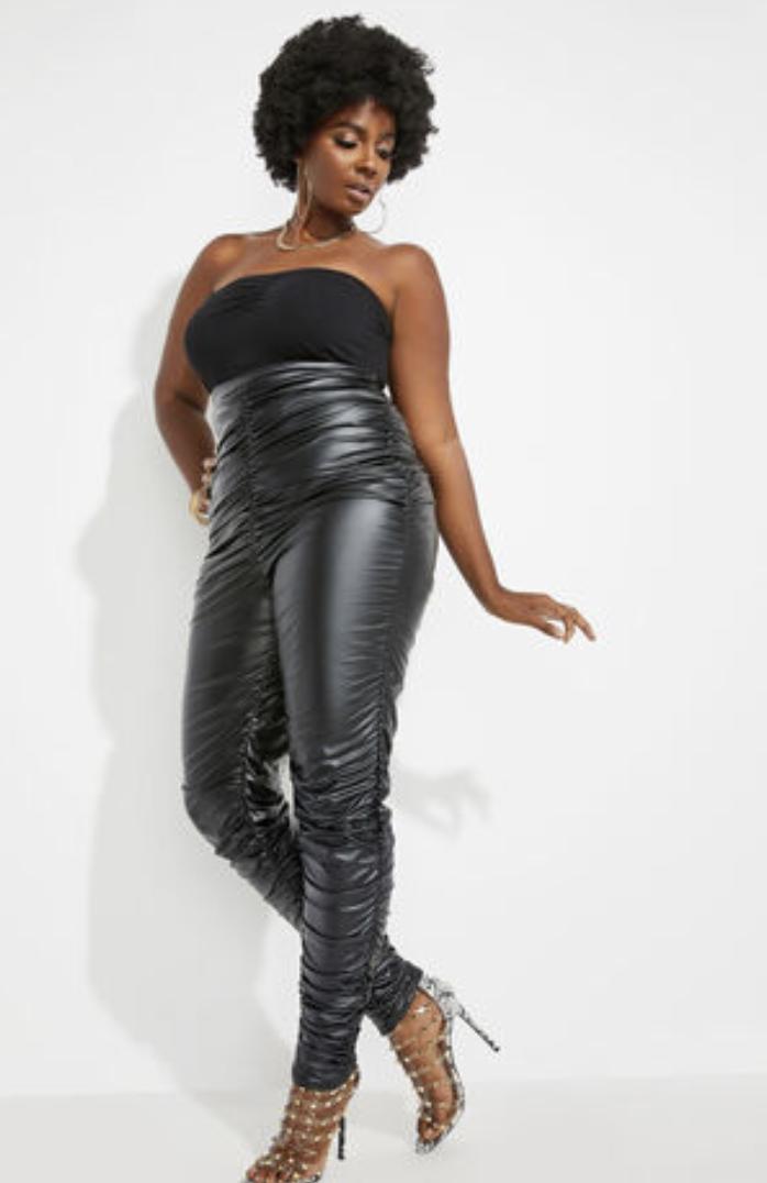 Ashley Stewart Trendy Ruched Faux Leather Leggings