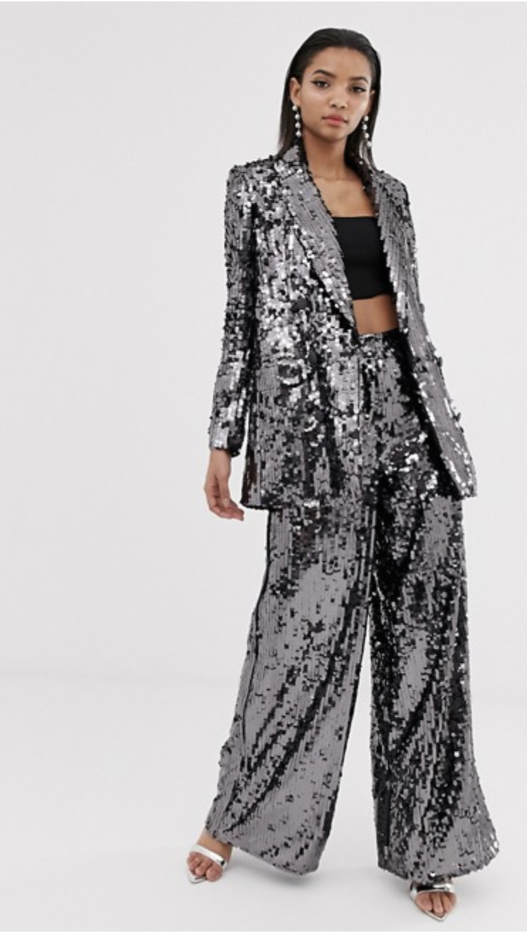 ASOS EDITION Double Breasted Sequin Blazer And Pants
