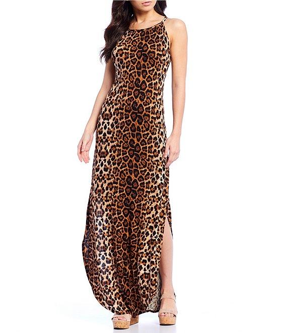 Stilletto's Leopard High Neck Maxi Dress
