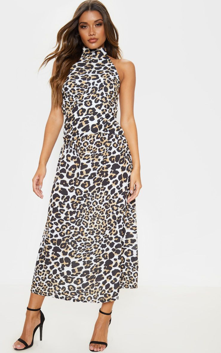 Tan Leopard Print Halterneck Wrap Front Maxi Dress