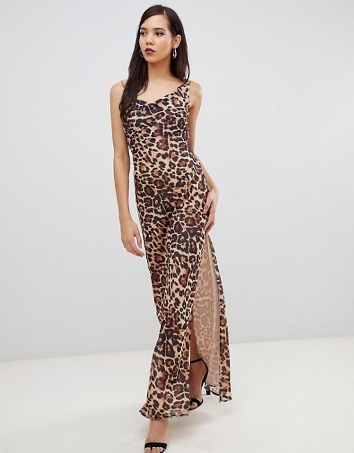 ASOS DESIGN Tall Bias Cut Leopard Print Cami Maxi Dress with Drape Neck