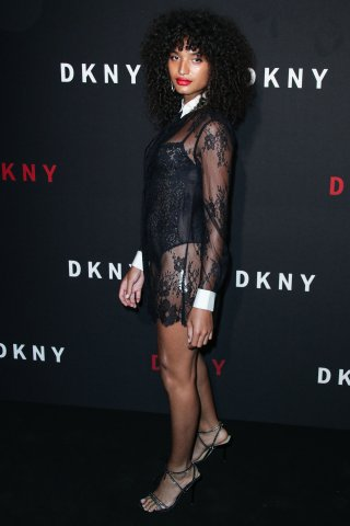 Indya Moore arrives at the DKNY 30th Birthday Party Celebration held at St. Ann's Warehouse on September 9, 2019 in Brooklyn, New York City, New York, United States.