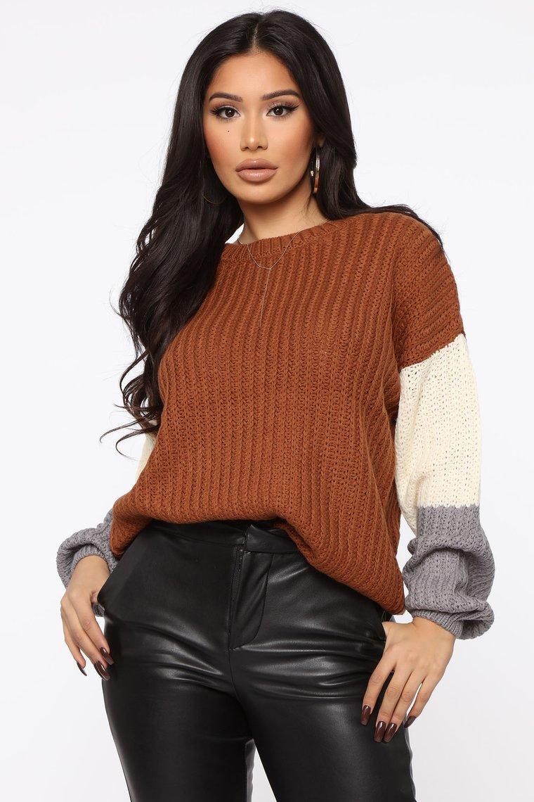 Fashion Nova You're All Mine Color Block Sweater in Camel