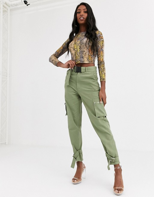 Missguided Tall utility cargo pants in green