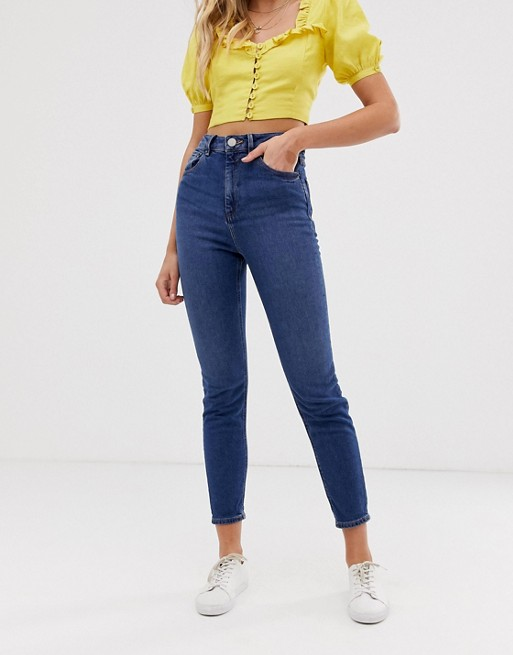 ASOS DESIGN Recycled Farleigh High Waisted Slim Mom Jeans in Dark Wash