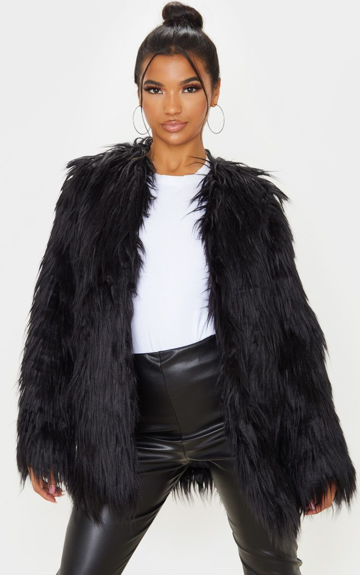 Pretty Little Thing Amaria Black Shaggy Faux Fur Jacket