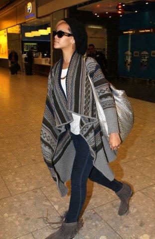 Rihanna arrives at Heathrow