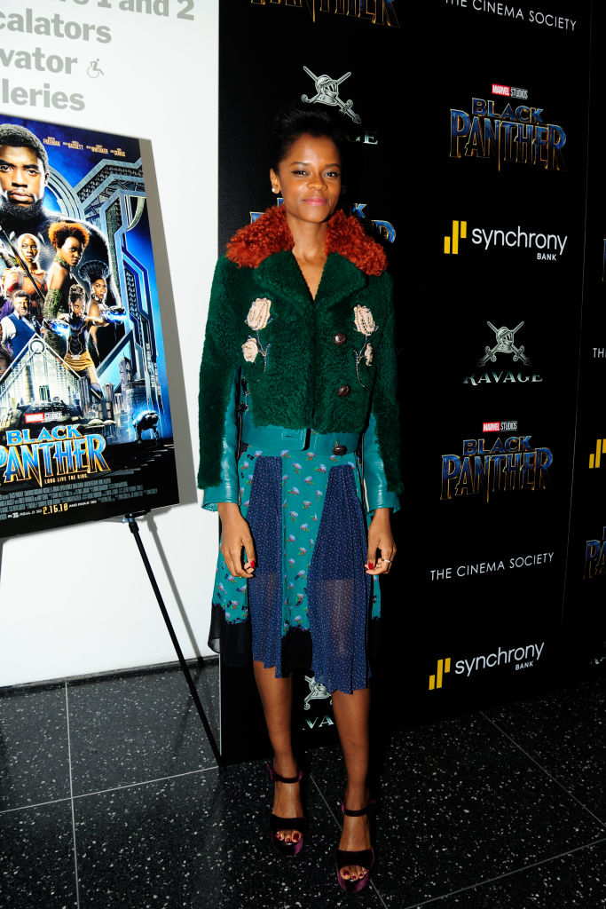 """LETITIA WRIGHT AT THE CINEMA SOCIETY WITH RAVAGE & SYNCHRONY SCREENING OF """"BLACK PANTHER"""", 2017"""