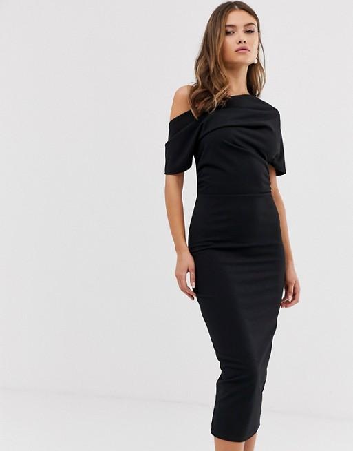 ASOS DESIGN Pleated Shoulder Pencil Dress