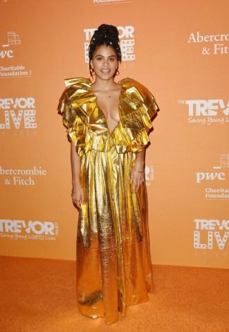 Zazie Beetz attends The Trevor Projects TrevorLIVE LA 2019 at The Beverly Hilton Hotel on November 17, 2019 in Beverly Hills, California\n© Jill Johnson/jpistudios.com