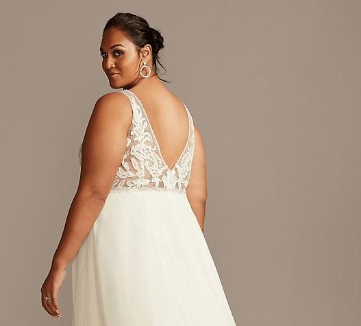 David Bridals Plus Size Applique Illusion Chiffon Plus Size Wedding Dress