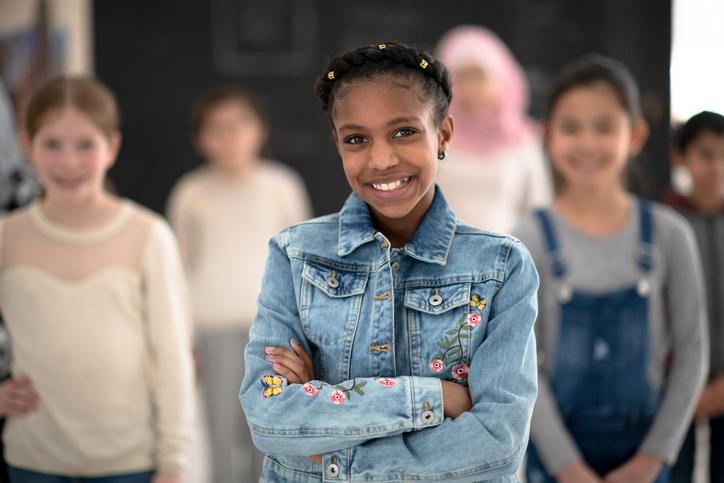 Multi-Ethnic Elementary Class Portrait stock photo