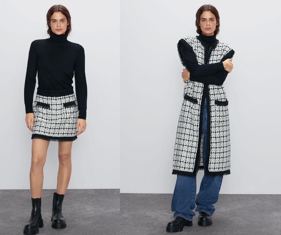 Zara Tweed Mini Skirt and Tweed Vest