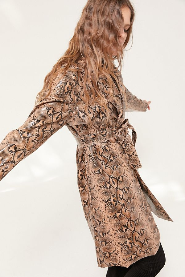 URBAN OUTFITTERS SNAKE SKIN FAUX LEATHER TRENCH COAT