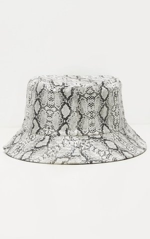 Pretty Little Thing Gray Snake Bucket Hat