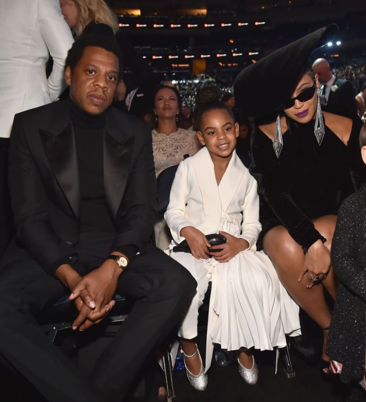 BLUE IVY AND HER PARENTS AT THE 60TH ANNUAL GRAMMY AWARDS, 2018
