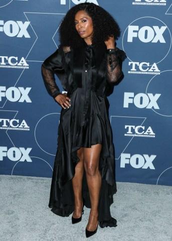 Actress Tasha Smith arrives at the FOX Winter TCA 2020 All-Star Party held at The Langham Huntington Hotel on January 7, 2020 in Pasadena, Los Angeles, California, United States.