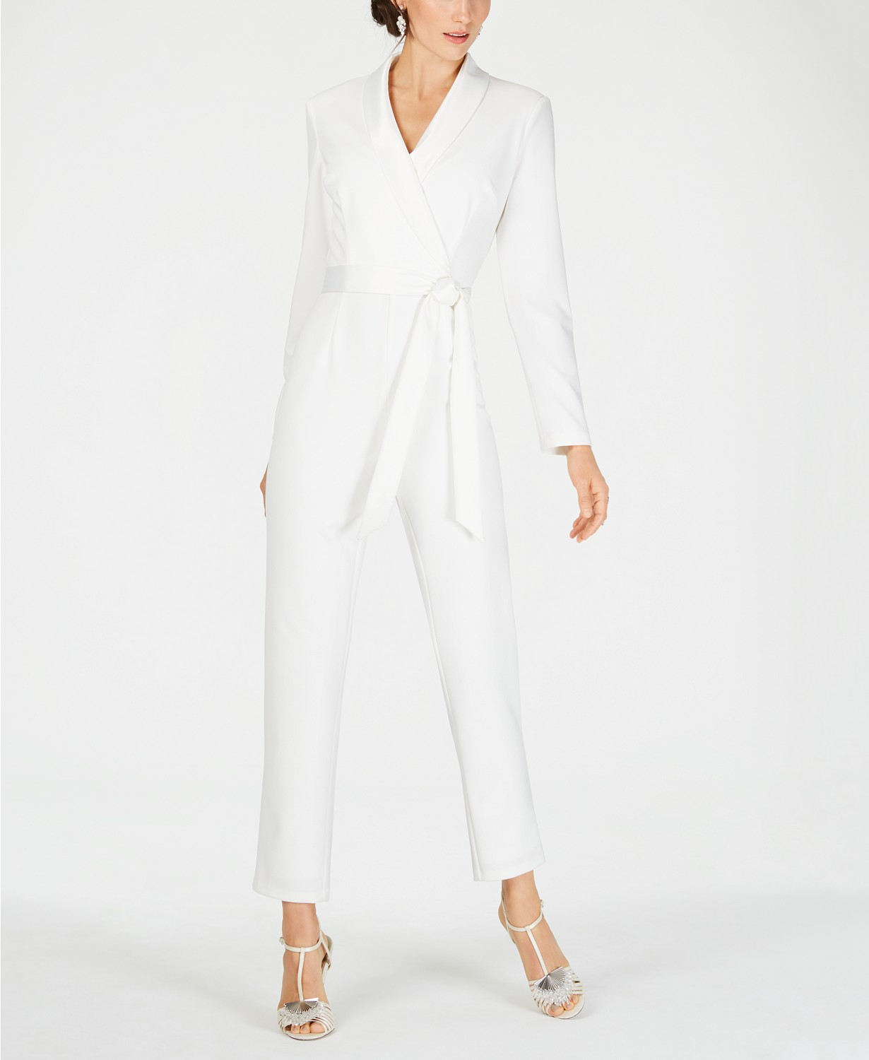 Adrianna Papell Tuxedo Jumpsuit In White