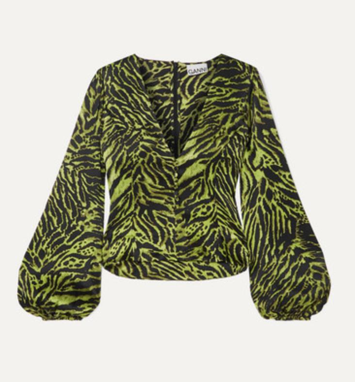 GANNI Tiger Print Silk Blend Satin Top