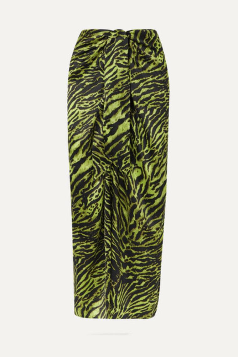 GANNI Tie Front Tiger Print Silk Blend Satin Midi Skirt