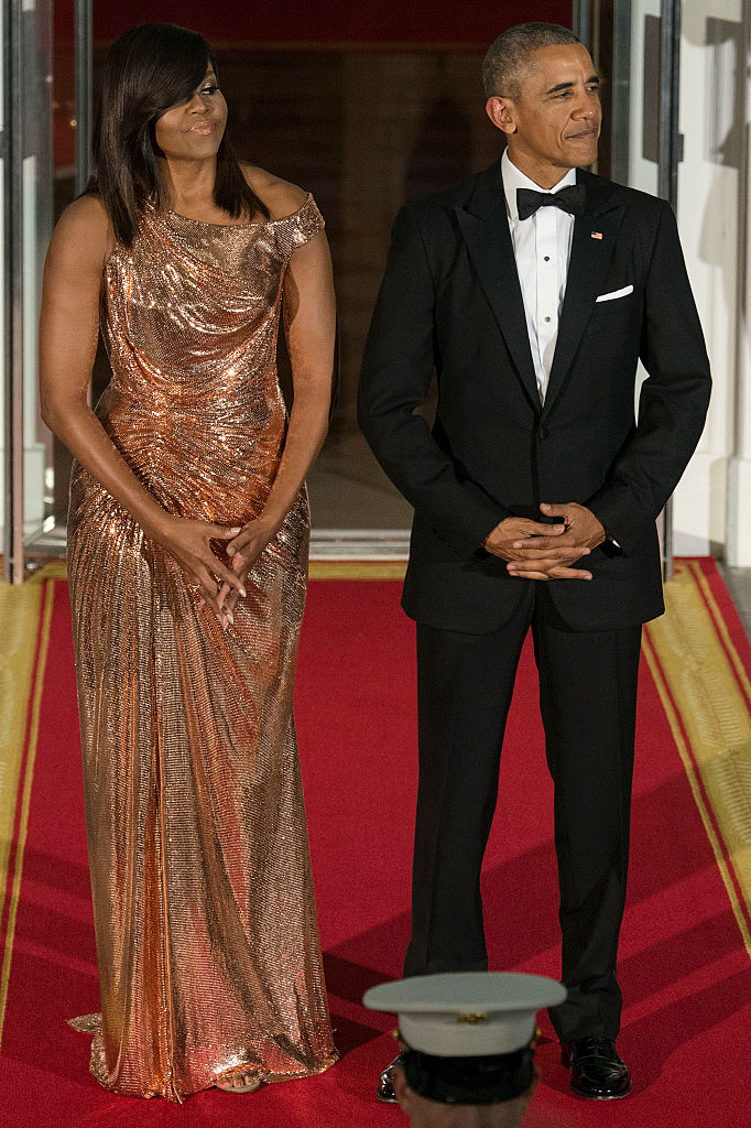 MICHELLE AND BARACK OBAMA AT THE ITALIAN PRIME MINISTER VISIT TO THE WHITE HOUSE, 2016
