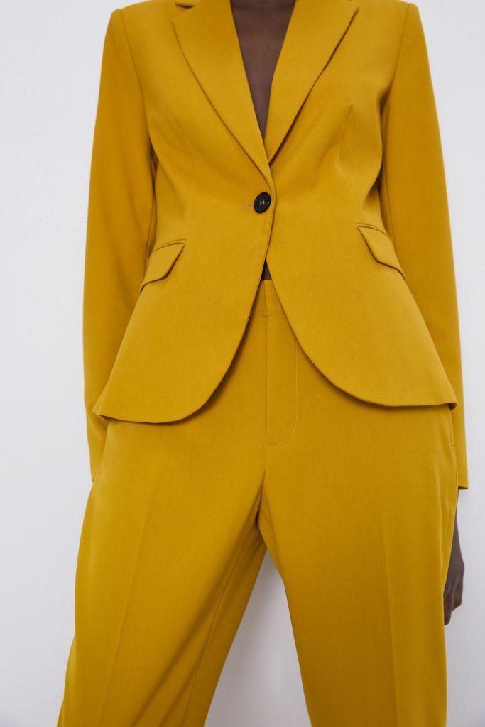 Zara Basic Blazer In Mustard