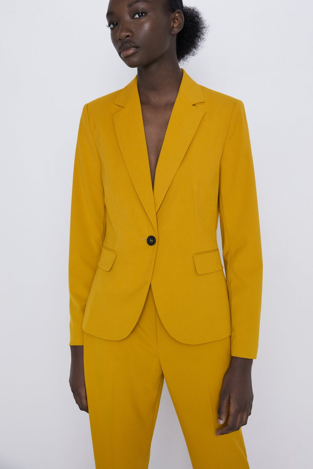 Zara Basic Blazer In Mustard