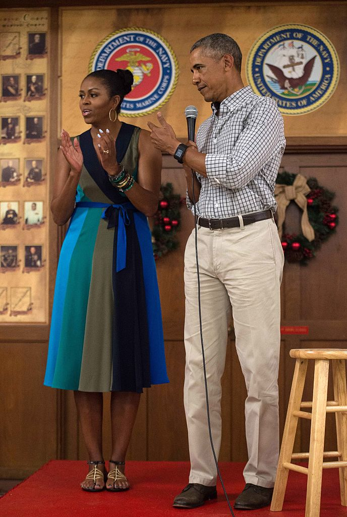 MICHELLE AND BARACK OBAMA AT THE MARINE CORPS BASE HAWAII, 2016