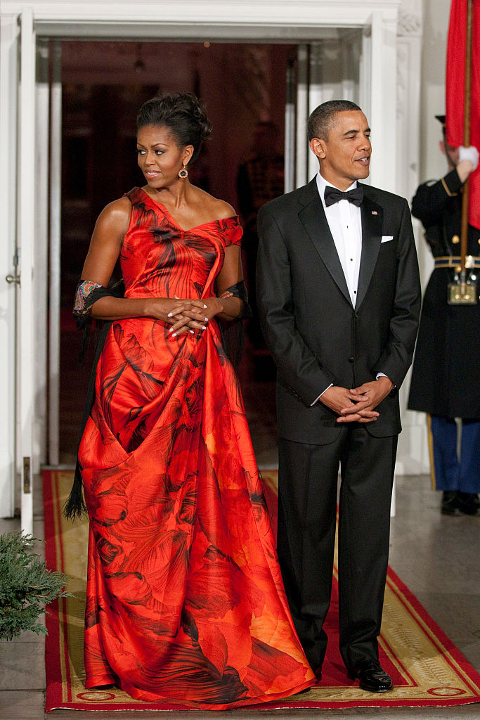 MICHELLE AND BARACK OBAMA AT THE HU JINTAO STATE DINNER, 2011