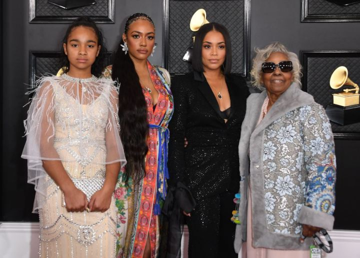 Nipsey Hussle's daughter Emani Asghedom, sister Samantha Smith, wife Lauren London and Nipsey Hussle's grand mother Margaret Bouffe