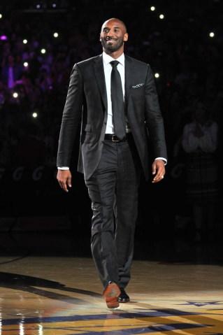 kobe bryant black and white retirement suit