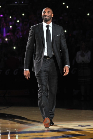 Kobe Bryant black & white suit