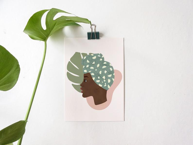 Poster A4 or A5 Illustration Portrait of woman black turban and monstera leaf
