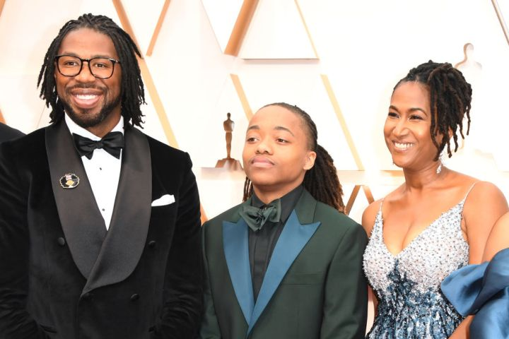 Hair Love director Matthew A. Cherry, Karen Rupert Toliver and Deandre Arnold