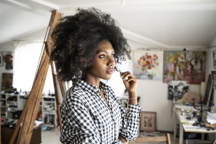 Female artist in studio