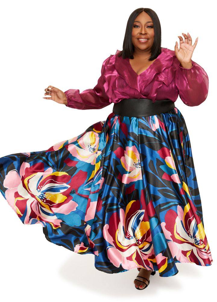 RUFFLED CRINKLE ORGANZA WRAP TOP ($$39.50), BELTED FLORAL SATIN MAXI SKIRT ($39.50)