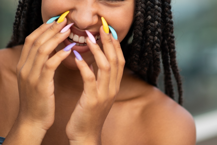 African american model with trendy nail paint