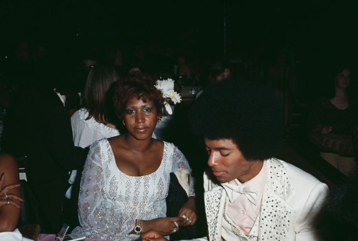 Aretha Franklin and Michael Jackson at the 19th Annual Grammy Awards