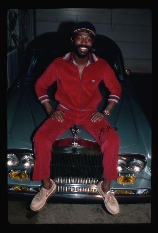 Teddy Pendergrass Seated on Rolls Royce