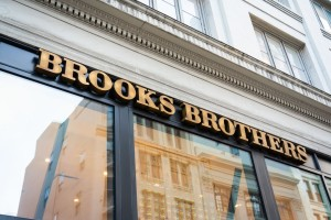 American men's clothier chain Brooks Brothers store and logo...