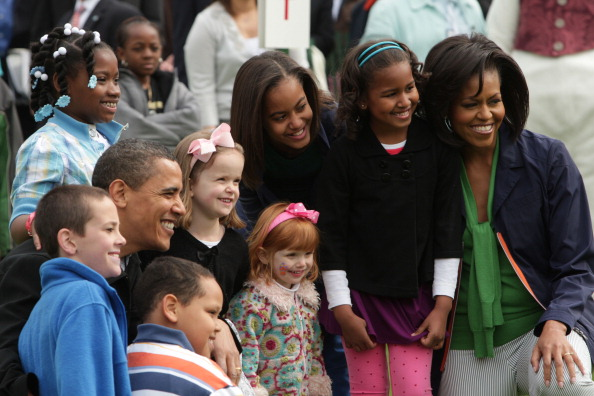 President Barack Obama along with his wife Michelle and daug