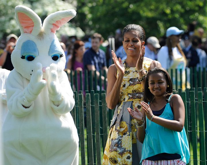 Michelle, Sasha and the Easter Bunny