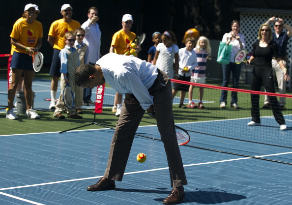 Obama on The Tennis Court