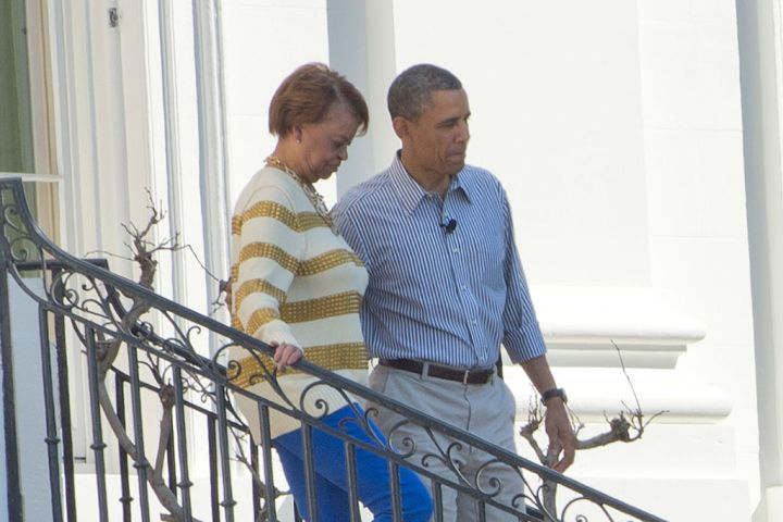 Former President Obama With His Mother-In-Law