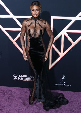 Actress Laverne Cox wearing Hakan Akkaya arrives at the Los Angeles Premiere Of Columbia Pictures' 'Charlie's Angels' held at the Westwood Regency Theater on November 11, 2019 in Westwood, Los Angeles, California, United States.