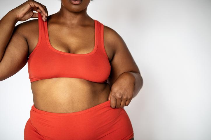 African plus size female model in lingerie